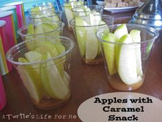 Apples & Carmel Dip (Carrots and Ranch dip in a clear cup) Love this idea!! Thanks from ...A Turtle's Life for Me