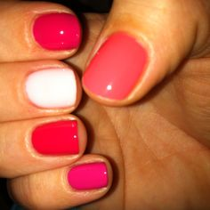 My top 5 summer nail pinks (thumb to pinky): Essie Cute as a Button, Essie Bachelorette Bash, Essie Poppy Pink Art, Essie Watermelon and OPI Pink Flamenco