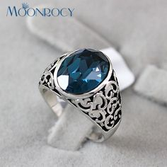 MOONROCY Free Shipping fashion Jewelry Austrian Blue Crystal Rings Vintage ring for women mother lover finger ring Gift #Affiliate