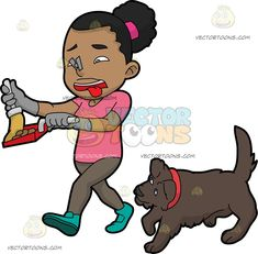 A Black Woman Picking Up The Poop Of Her Dog :  A black woman with curly hair in ponytail wearing a pink shirt pale grayish brown pants gray gloves and aqua green shoes a gray clip on her nose lips parted to reveal a red tongue as she walks away holding a broom and red dustpan in her hands to throw away the poop of her brown dog with red collar  The post A Black Woman Picking Up The Poop Of Her Dog appeared first on VectorToons.com.