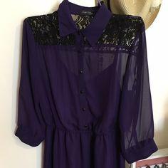 Shirt Midi Purple Chiffon/Lace Dress Wore fill times but still in perfect condition Love Reign Dresses Midi