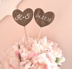 Personalized heart shaped wedding cake by BellaBrideCreations, $21.00