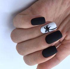 Trendy Matte Black Nails Designs Inspirations - Nails - Best Nail World Nail Art Blanc, Black And White Nail Designs, Matte Black Nails, Nail Pink, Black Nails Short, Black White Nails, Orange Nail, Ombre Nail, Matte Pink