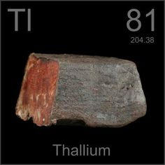 81 Thallium -TI- A very soft, silvery white metal which tarnishes quickly in moist air but which is stable if kept away from oxgen under water. Highly toxic.