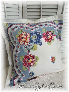 Summer Porch Pillow shams fashioned from vintage tablecloths