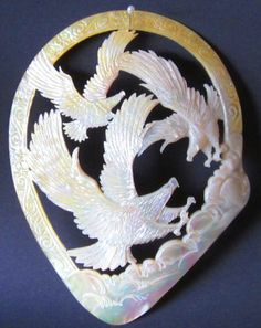 "Gigantic 9"" Mother of Pearl 3 Eagle Carving, RARE, Highly Prized One Piece Shell"