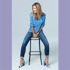 Distressed to impress with these distressed denim pants by UP! This distressed denim can be worn rolled up with the perfect pumps or worn long for a polished look. Blue Pants, Denim Pants, Mom Jeans, Skinny Jeans, Black Jeans Outfit, Pull On Jeans, Polished Look, Ladies Dress Design, Jean Outfits