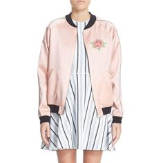 Women's Opening Ceremony Reversible Embroidered Silk Bomber Jacket featuring polyvore, women's fashion, clothing, outerwear, jackets, pink multi, flight jacket, raglan jacket, opening ceremony jacket, embroidered jacket and flight bomber jacket