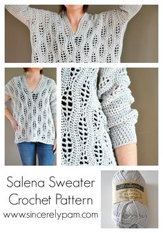 Salena Sweater crochet pattern designed by Sincerely, Pam is a great piece for any fashion loving woman! This versatile piece is sure to go with a lot of the outfits you already have in your closet.