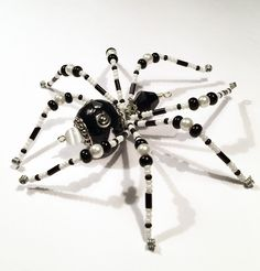 Lucy - black and white glass beaded spider goth sun catcher - Halloween decoration - Christmas ornament by MossandStoneStudio on Etsy