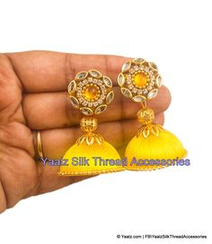 Yaalz Silk thread Jhumka Earrings With Kundan Stone Stud In Yellow Color Silk Thread Earrings Designs, Silk Thread Jhumkas, Beaded Necklace Patterns, Thread Jewellery, Fabric Jewelry, Jewelry Patterns, Diy Jewellery, Earrings Handmade, Handmade Jewelry