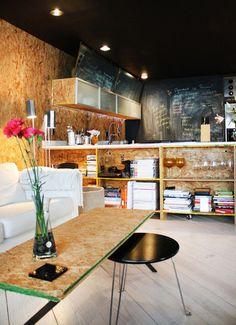 plywood and blackboard kitchen