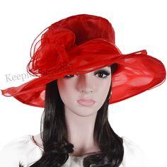 Women wide brim floral organza church red Bridal dress kentucky derby hat
