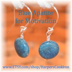 Blue Apatite earrings for Motivation and Manifestation - $16. I infuse my hand-made jewelry with the intention to heal and empower, then cleanse and charge it especially for you. I think these stones look like crashing waves of the ocean. Apatite is a blue stone, associated with the throat chakra. Thus, it is helpful with communication, self-expression and creativity. It increases motivation by reducing negativity and banishing apathy. It helps you achieve your goals and manifest your…