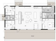 Narrow Lot House Plans, Small House Floor Plans, Cottage Floor Plans, Cottage Plan, Modern House Plans, Modern Architecture House, Architecture Plan, Sustainable Architecture, Architectural Floor Plans