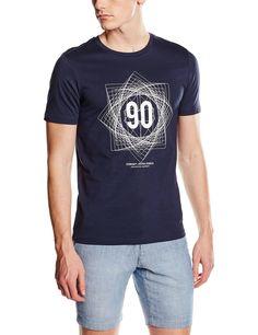 JACK   JONES Herren T-Shirt JCOCALIO TEE SS CREW NECK, mit Print, Gr.  Medium, Blau (Navy Blazer Fit SLIM)  Amazon.de  Bekleidung 5b0c54d0f8