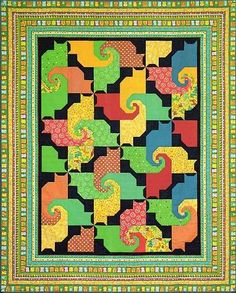"Kool Kats Quilt by Northcott-This pattern was designed by Patti Carey. The finished quilt size is 73"" x 89"". If you want to save it to your computer instead of printing it, right click on the link and choose 'Save Target As' and save it into a folder or to your desktop. Ref # KoolKatsKwilt FreeForYouToPrint"