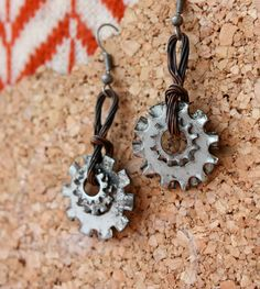 bike parts jewelry | Recycled Bike Part Cog Earrings by FoundForagedFormed on Etsy