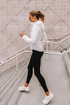 Fashion Jackson Wearing lululemon White Jacket Black Leggings Workout Outfit Informations About Fash White Leggings Outfit, White Sneakers Outfit, Black Leggings, Outfit Ideas With Leggings, Summer Leggings Outfits, White Workout Leggings, White Jacket Outfit, Leggings Sale, Summer Shorts