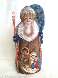Russian Santa with Nativity Scene Wooden Hand Carved Hand Painted Signed