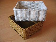 Canasta de mimbre hecha con periodicos reciclados