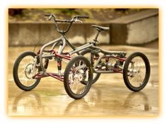 "Check out the Athos Quad, it's designers say ""its a cycle inspired by BMX, Freestyle, Downhill and Motocross, and that Athos marries the intense stability and handling characteristics of a quad with the  flexibility of a bicycle."" Finding its home on off road courses and rugged terrain the Athos Quad looks like a mud buddies new best friend. I guess its really  a pedal powered ATV."