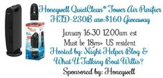 Win a Honeywell QuietClean© Tower Air Purifier HFD-230B Giveaway Ends 1/30 Perfect for any Home, good luck from A Medic's World