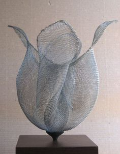 Wire mesh #sculpture by #sculptor Raghavendra Hedge titled: 'Mesh Flower (abstract Wire Netting Small Floral sculptures)'. #RaghavendraHedge