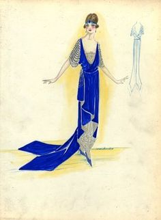 """""""Evening Dress, 1917. Blue dress with gold lace accents; blue surplice bodice with gold lace under bodice; gold and blue beaded sleeves; ankle length skirt with high low tapered hem; double train. (Bendel Collection, HB 021-09)"""", 1917. Fashion sketch. Brooklyn Museum, Fashion sketches. (Photo: Brooklyn Museum, SC01.1_Bendel_Collection_HB_021-09_1917_SL5.jpg)"""