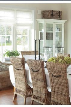 Love the texture of the chairs & the handles on the backs with the white room.