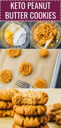 How to make low carb peanut butter cookies, homemade from scratch. 3 ingredients / almond flour / easy / no bake / keto / sugar free / best / flourless / swerve / chewy / protein / fat bombs / soft / food / dreams / dessert recipes / treats / holidays / parties / snacks / kids / simple / clean eating / ovens / sweets / low carb / diet / atkins / induction / meals / recipes / easy / dinner / lunch / foods / healthy / gluten free / paleo #peanutbutter #cookies #lowcarb via @savory_tooth