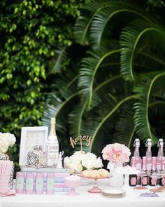 The Essential Elements of a Bridal Shower Dessert Bar | Martha Stewart Weddings - For a party that's equal parts pretty and special, click through for a celebration that'll satisfy any sweet tooth. We've covered all the basics and then some, to make your MOH duties fun, easy, and utterly chic.
