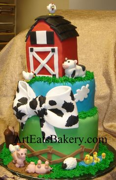 Two tier farm animals custom unique baby shower cake with barn, pigs, horse, ducks, sheep, cow and chickens