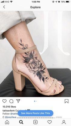 15 Ideas For Tattoo Sunflower Small Ankle Tat Ankle Tattoo, Wrist Tattoos, Body Art Tattoos, Girl Tattoos, Tatoos, Rose Foot Tattoos, Floral Foot Tattoo, Trendy Tattoos, Small Tattoos