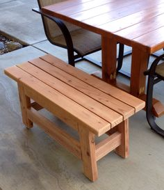 DIY Bench seat (unfinished) built from scraps of the redwood patio table.