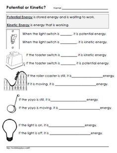 Energy Transformations Worksheet Energy 6th Grade Science 8th