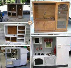 DIY kids play kitchen from old TV cabinets kids kitchen Diy Kids Kitchen, Toy Kitchen, Childs Kitchen, Mini Kitchen, Kitchen Ideas, Kitchen Appliances, Repurposed Furniture, Kids Furniture, Diy Karton