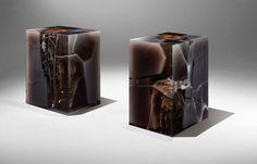 """Obsidian"" AP1, 2014 Design Nucleo_Piergiorgio Robino epoxy resin, pigment, wood 27×37×47 cm Unique piece in an edition of 8 + 2 AP exclusive for Ammann Ga"