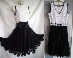 Black - white crochet dress in the style of the 50's inspired Karen Millen.  More photos: http://elfka.pl/?p=3654