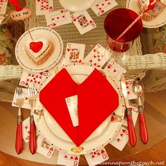 Valentine's Day Table Setting with Alice in Wonderland Theme