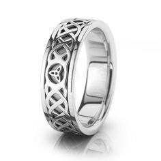 10k White Gold Celtic Trinity Knot Chain Wedding Band Polish 7mm 00047