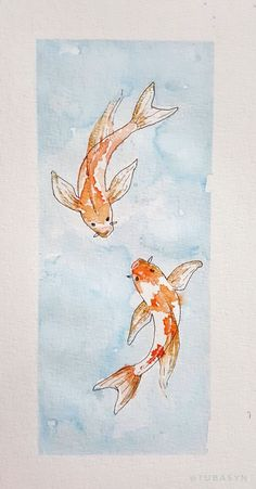 My first attempt on watercolor koi fishes Added some gold tubasyn Koi Fish Drawing, Fish Drawings, Art Drawings, Koi Fish Tattoo, Tattoo Bird, Koi Art, Fish Art, Watercolor Fish, Watercolor Paintings