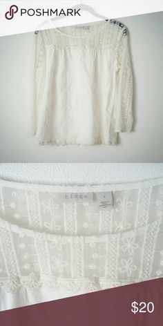 Hinge Light Cream Embroidered Top So pretty, embroidered flowers on light cream cotton knit background, sheer at top.  3/4 length sleeves.  No tears, rips, or blemishes.  In EUC. Nordstrom Tops Tunics