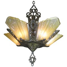 Art Deco Slip Shade Chandelier Light | From a unique collection of antique and modern chandeliers and pendants  at https://www.1stdibs.com/furniture/lighting/chandeliers-pendant-lights/