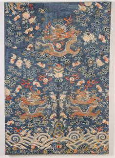 """Antique Chinese Silk Dragon Panel, mounted on stretcher. Size: 41"""" x 28"""""""