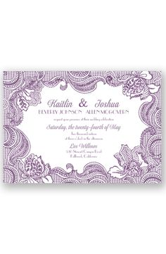 Sparkling Lace Glitter Wedding Invitation in Wisteria by David's Bridal
