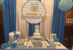 Owl and Chevron dessert table
