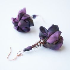 Elegant fabric earrings  violet silk and wire wrapped by arrabeska, $20.00