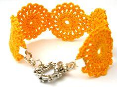 Pumpkin Medallion Crochet Bracelet