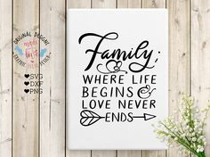 Family is where your life begins and love ends Family Home SVG DXF PNG Cut File for Silhouette Cameo, Cricut and other Cutting Machines.